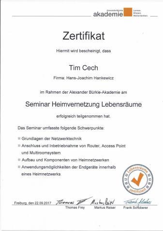 """Zertifikat Azubi für Seminar """"Heimvernetzung Lebensräume"""""""